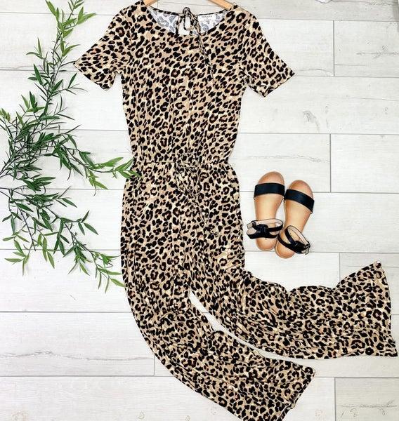 Wide Leg Leopard Jumpsuit,  Brown