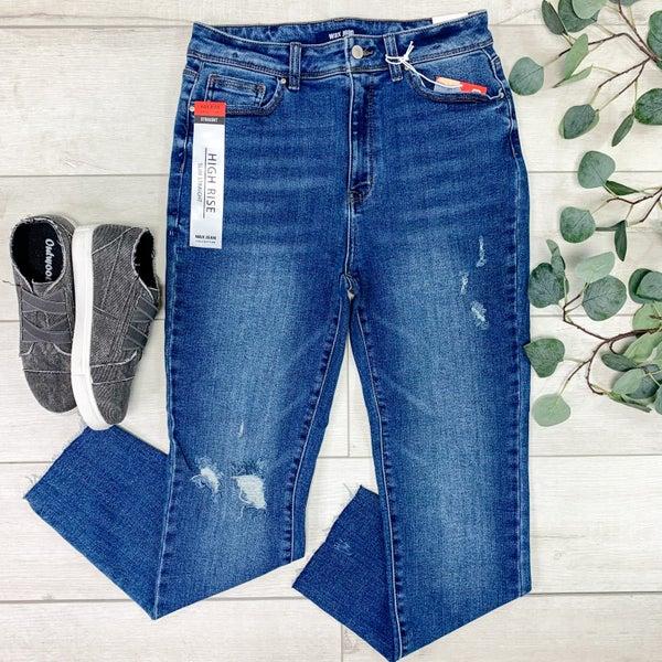 *Denim Collection* Distressed Slim Straight Jean, Dark