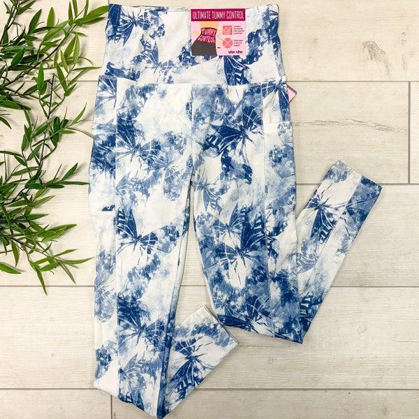 Tie Dye & Butterfly Print Athletic Legging, Blue