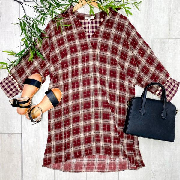 Contrast Pattern Plaid Tunic w/Pockets, Burgundy