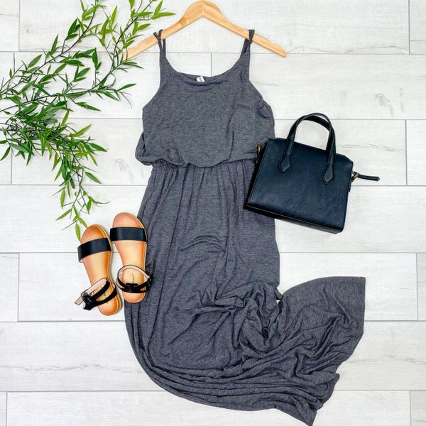 Solid Cami Gathered Waist Maxi Dress w/ Pockets, Charcoal [[$10--LIVE]]