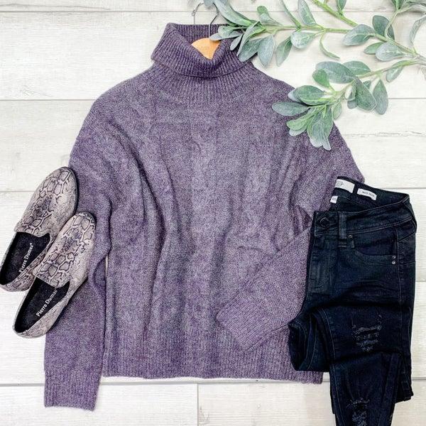 Turtle Neck Pullover Sweater, Purple *Final Sale*
