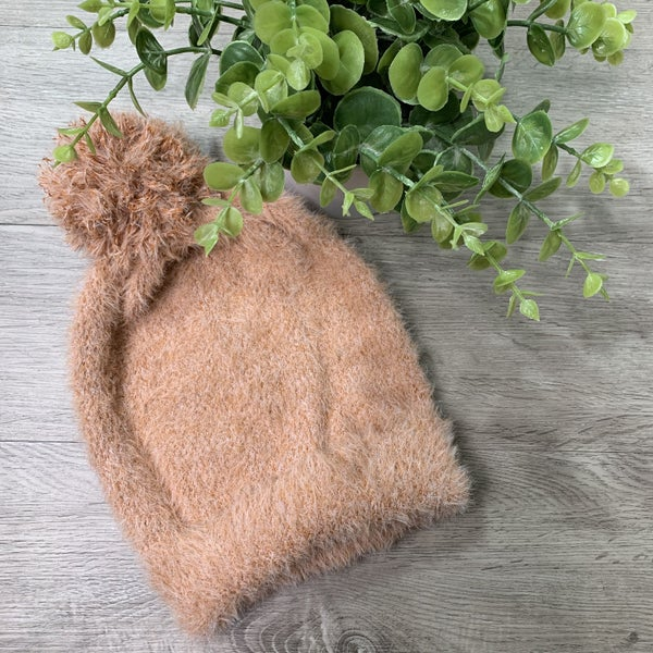 Soft Faux Fur Beanie, Rust *$3* [FINAL SALE]