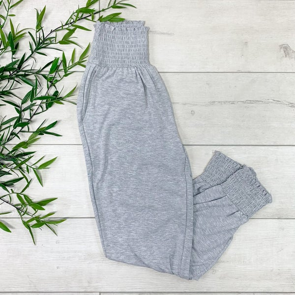 Smocked Lounge Pants, Heather Gray