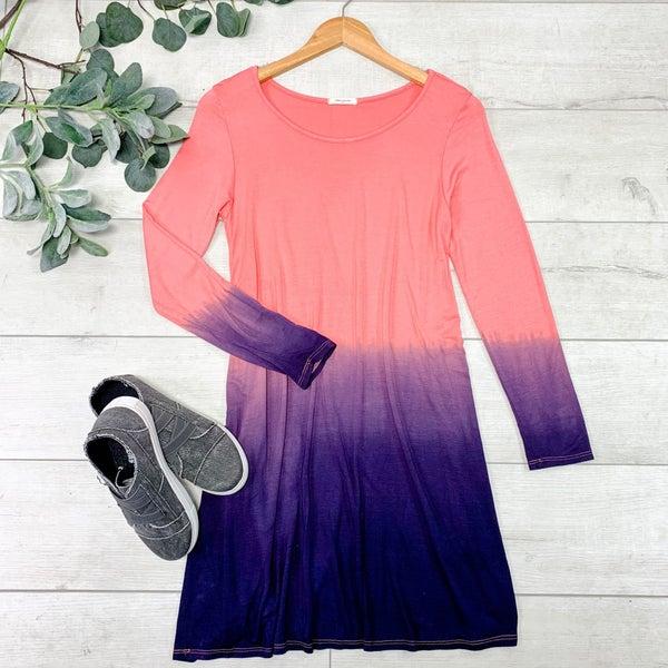 Ombre Swing Dress, Coral/ Purple