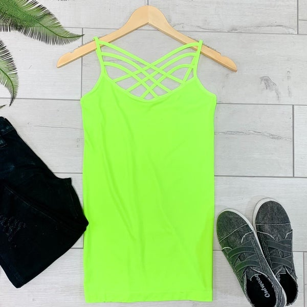 Criss Cross Neck Cami, Neon Lime