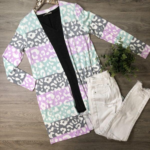 *Kendra's Collection* Leopard Color Block Cardigan- Grey