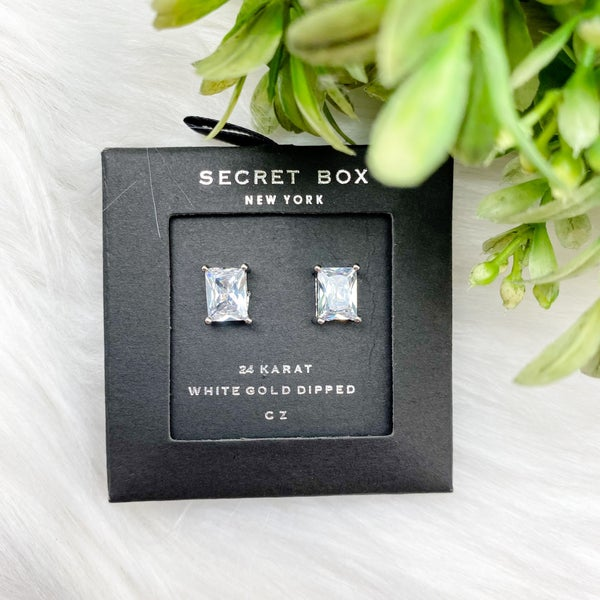 Square Cubic Stud Earrings, Silver