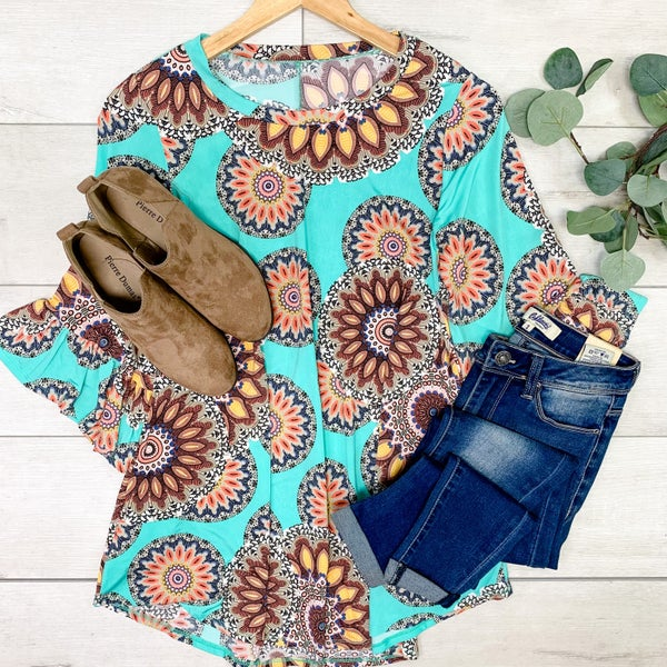 Patterned Ruffle Sleeve Tunic, Mint