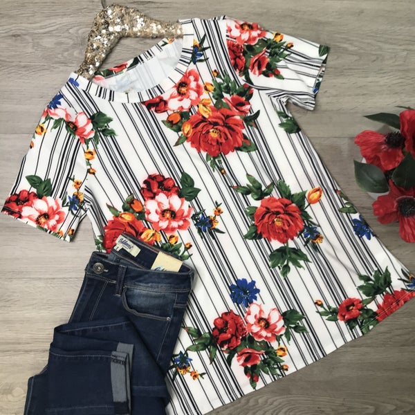 Striped Floral Top, White *Final Sale*