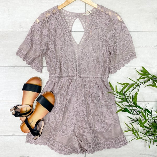 Lace Overlay Romper, Latte