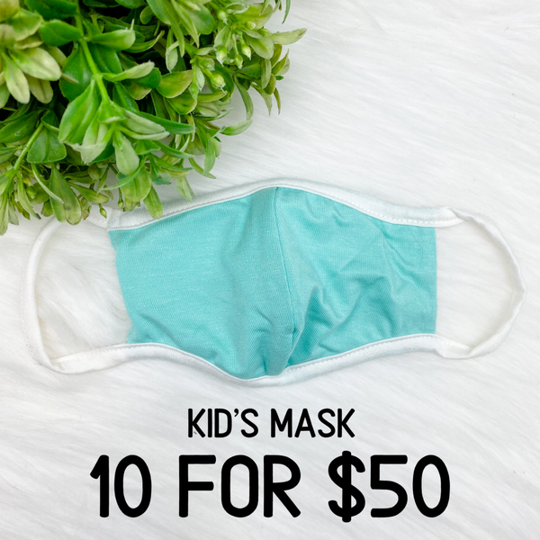 Kid's Cloth Face Cover [[10 for $50]], Turquoise