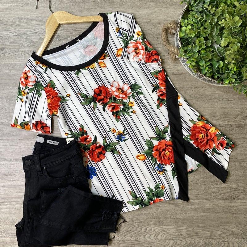 Striped Floral Top w/ Contrast Side Slit, Ivory *Final Sale*