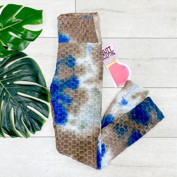 Tie Dye Honeycomb Legging,  Mocha/Blue