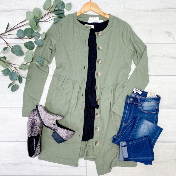 Babydoll Buttoned Cardigan, Light Olive [[$18--LIVE]]