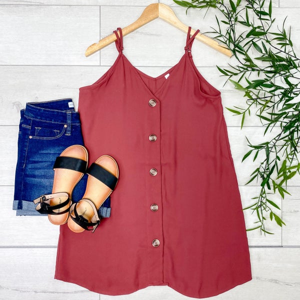 Woven Button Down Long Cami, Brick [[LIVE]]