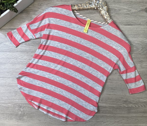 *Kid's Collection* Striped Round Hem Top, Heather Gray/Pink *Final Sale*