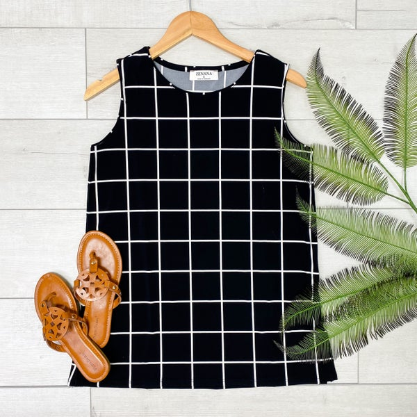 Plaid Sleeveless Top, Black [[LIVE]]