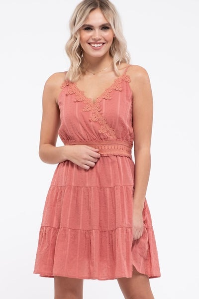 Swiss Dot Tiered Mini Dress, Dusty Apricot