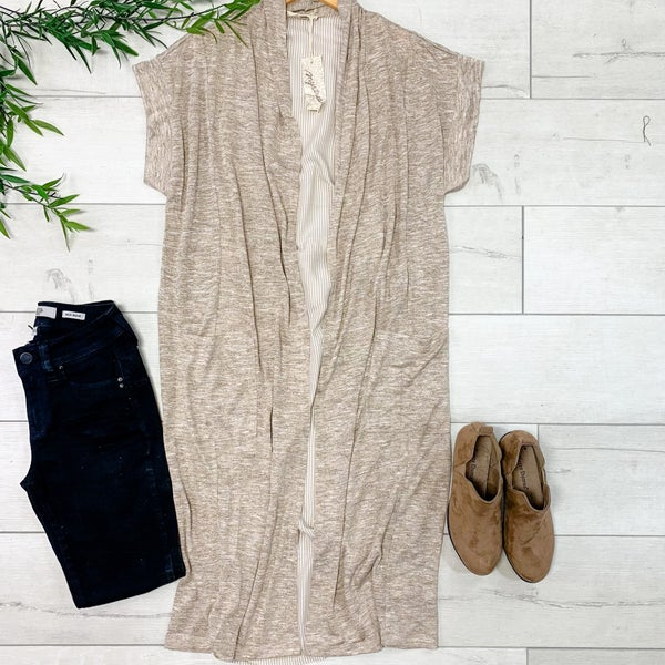 Contrast Striped Back Cardigan, Taupe *Final Sale*