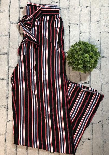 Striped Pants w/Tie Waist,, Black (N)