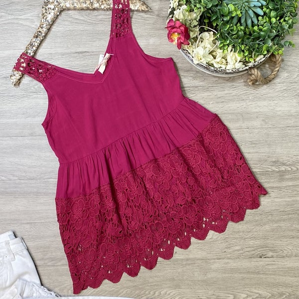 *Kendra's Collection* Sleeveless Top w/Lace Detail, Berry