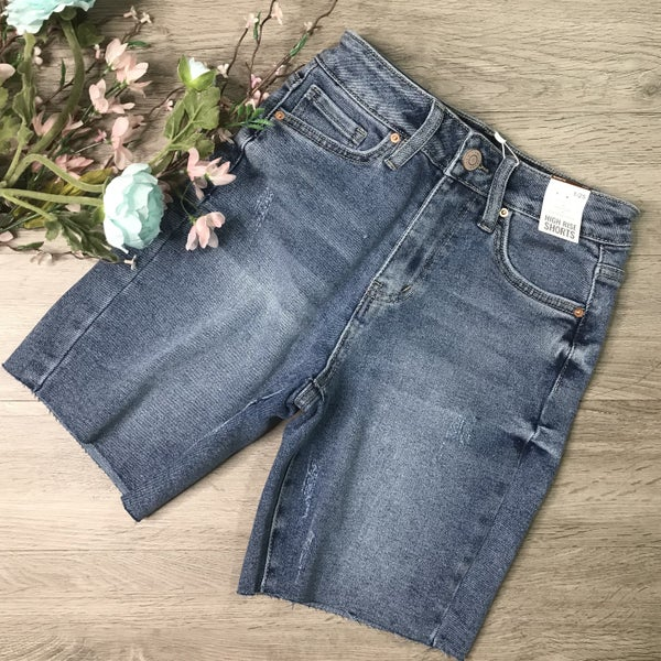 *Kendra's Collection* YMI Vintage Raw Hem Shorts, Light Denim