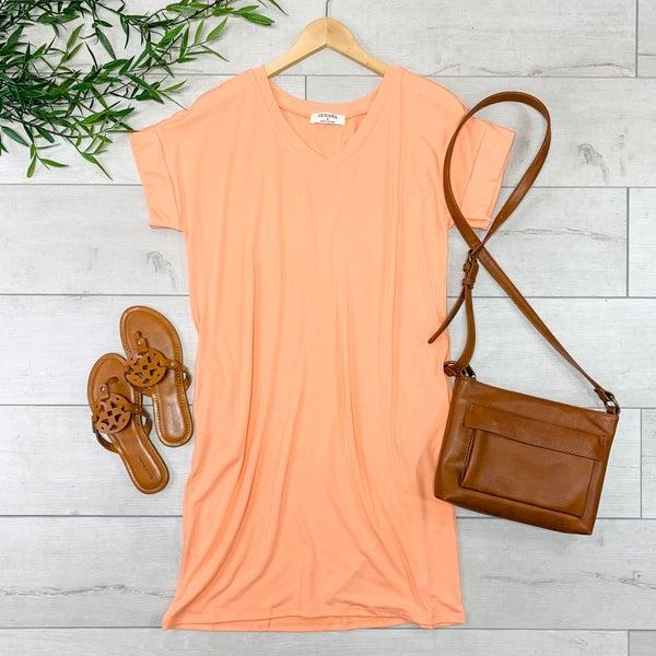Solid V-Neck T-Shirt Dress, Peach