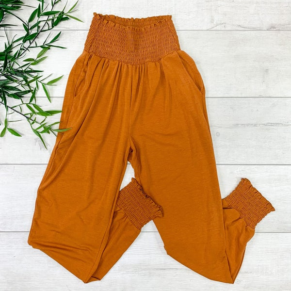 Smocked Lounge Pants, Almond
