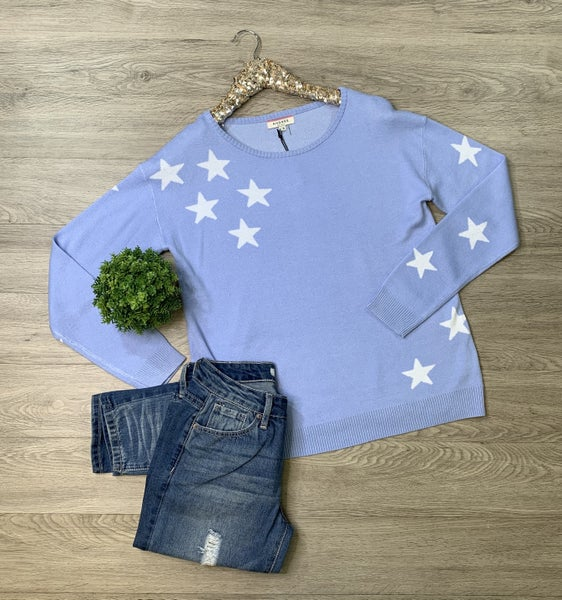 *Kendra's Collection* Star Sweater, Placid Blue