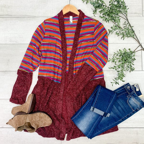 Striped Knit Cardigan, Burgundy *Final Sale*