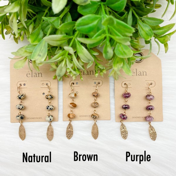 Small Beaded Dangle Earrings w/ Feather *Final Sale*