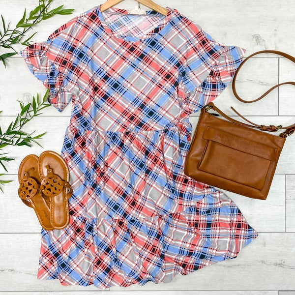 Plaid Ruffle Trimmed Babydoll Dress, Pink/Blue