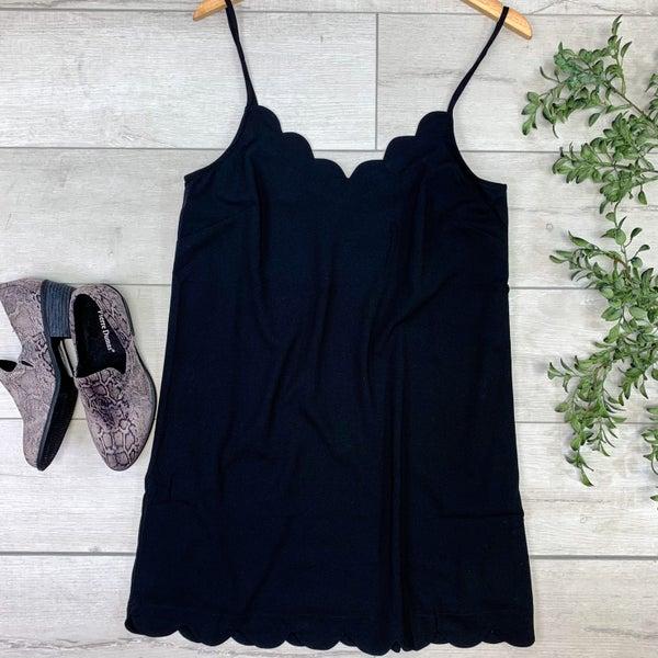 Strappy Scallop Trimmed Dress, Black