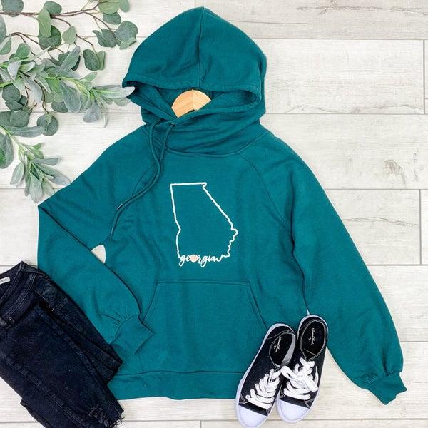 GA State Side Tie Hoodie, Deep Green *Final Sale*