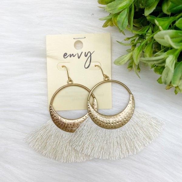 Tassel Fan Statement Earrings, Cream