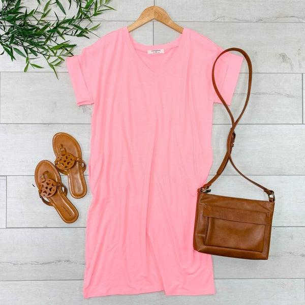 Solid V-Neck T-Shirt Dress, Bright Pink