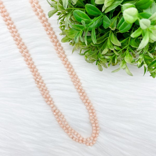 "Crystal Beaded 80"" Long Wrap Necklace, Nude *Final Sale*"