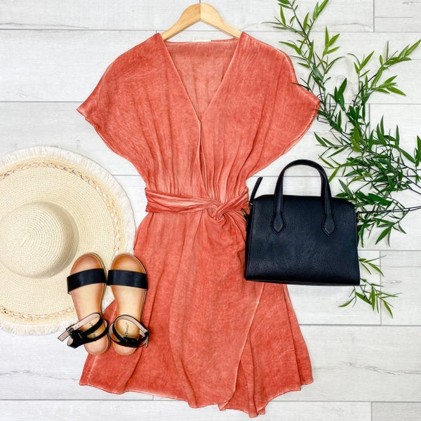 Mineral Washed Wrap Dress, Rust