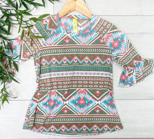 *Kid's Collection* Ruffle Sleeve Aztec Printed Tunic, Mocha