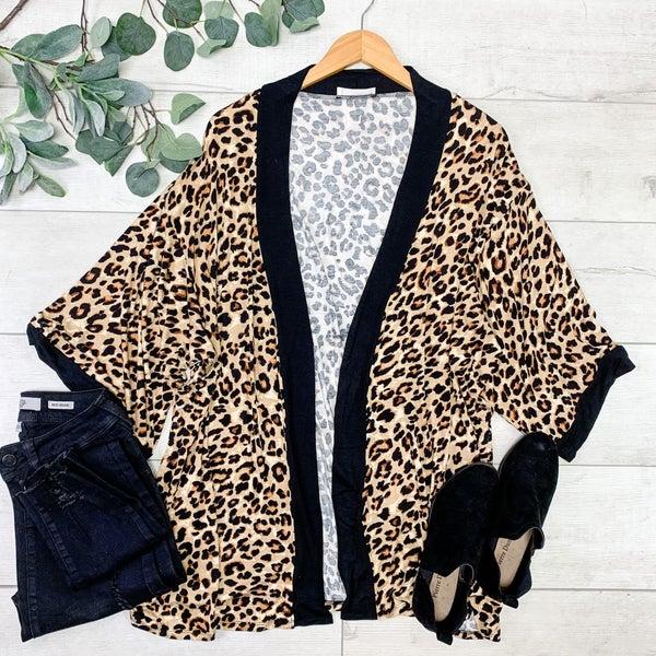Leopard Patterned Kimono, Tan Brown