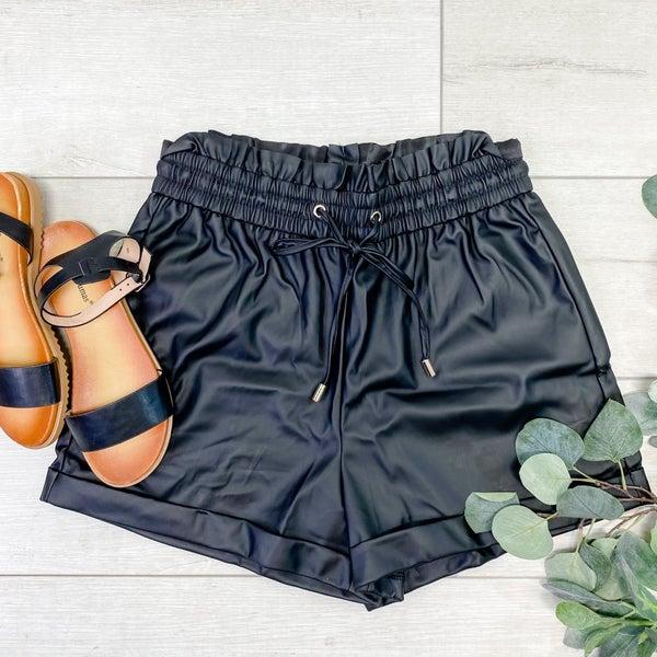 Faux Leather Paper Bag Shorts, Black