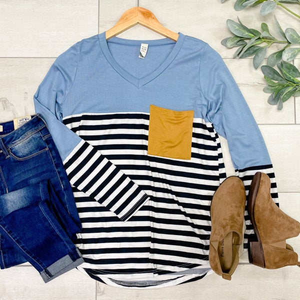 Contrast Striped Front Pocket Top, Slate Blue