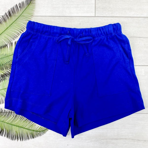 Solid Drawstring Shorts, Bright Blue