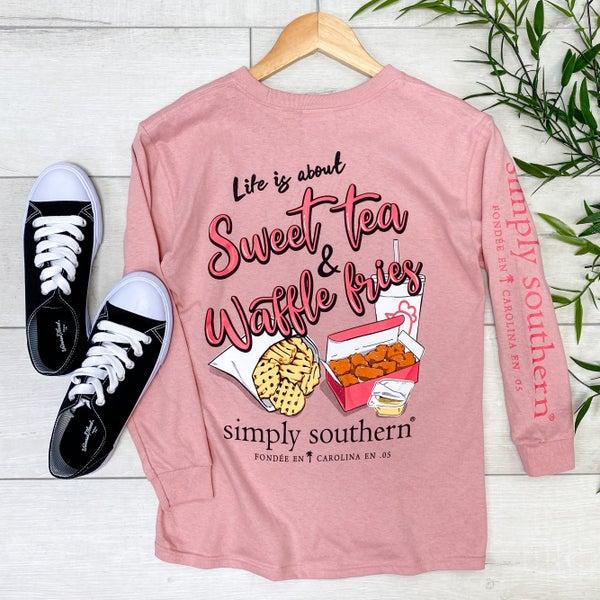 *Simply Southern* LS Sweet Tea & Waffle Fries Tee, Crepe Pink