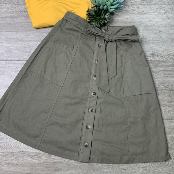 Button Down Front Tie Skirt, Olive
