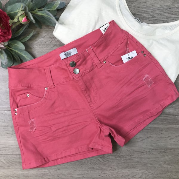 **YMI** Mid Rise Shorts, Shell Pink