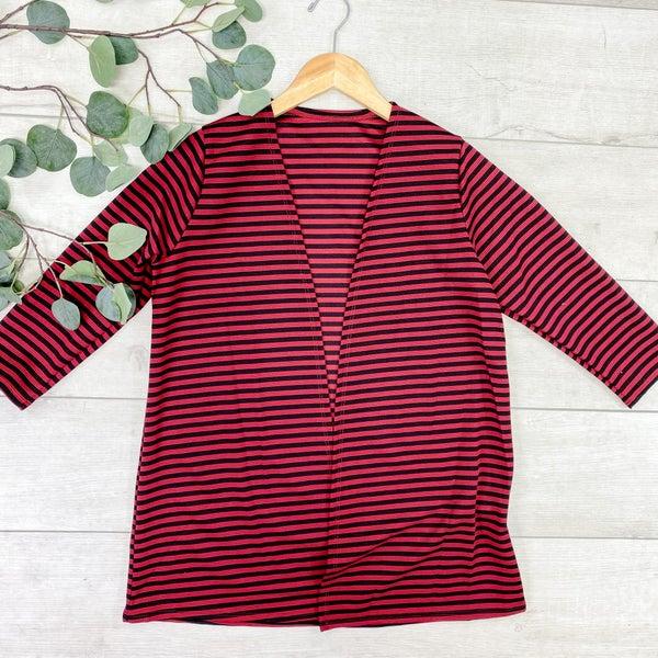 Striped 3/4 Sleeve Cardigan, Red/Black *Final Sale*