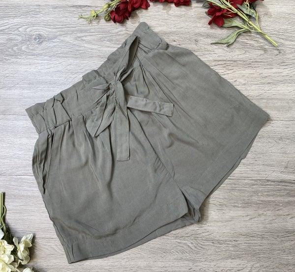 Paperbag Shorts- Olive *Final Sale*