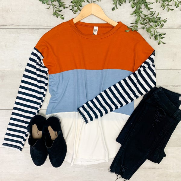 Color Block Top w/Striped Sleeves, Rust